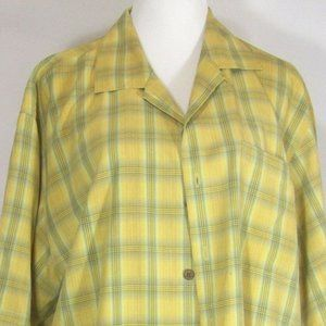 Tommy Bahama Yellow Plaid Button Up Shirt Large
